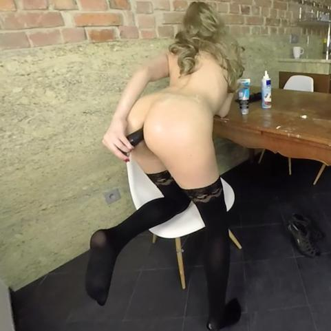 Slutty Emi penetrating her smoking hot ass with dildo