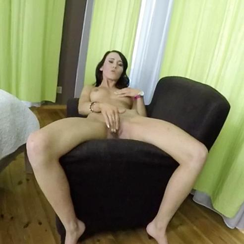 Warming her pussy for a big rock cock