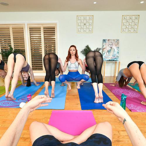 Three hot chicks fuck guy on yoga class